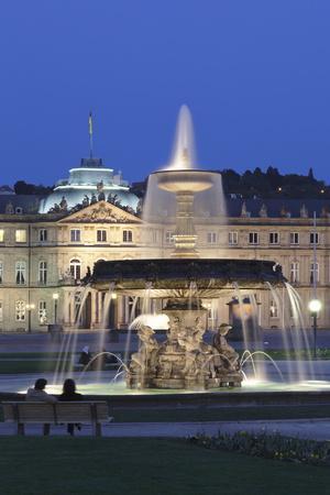 Neues Schloss Castle and Fountain at Schlossplatz Square-Markus Lange-Photographic Print