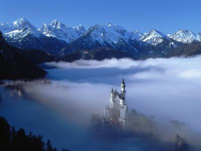 Neuschwanstein Castle Surrounded in Fog-Ray Juno-Photographic Print