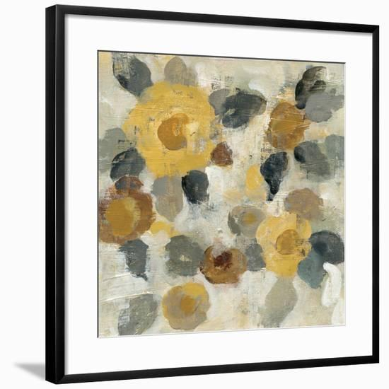 Neutral Floral Beige II Yellow Flowers-Silvia Vassileva-Framed Art Print