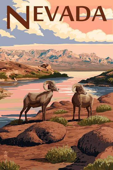 Nevada - Bighorn Sheep-Lantern Press-Art Print