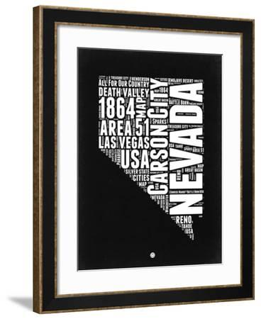 Nevada Black and White Map-NaxArt-Framed Art Print