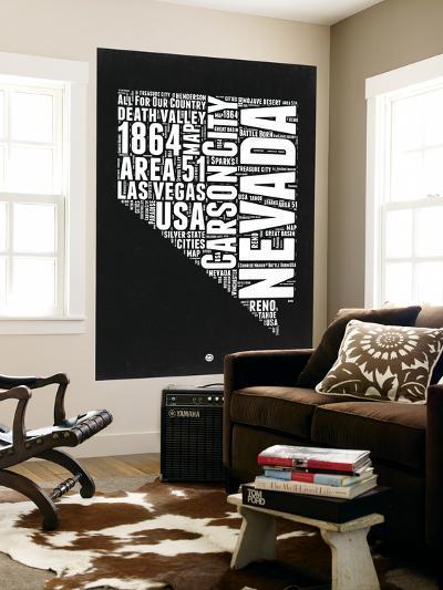 Nevada Black and White Map-NaxArt-Wall Mural