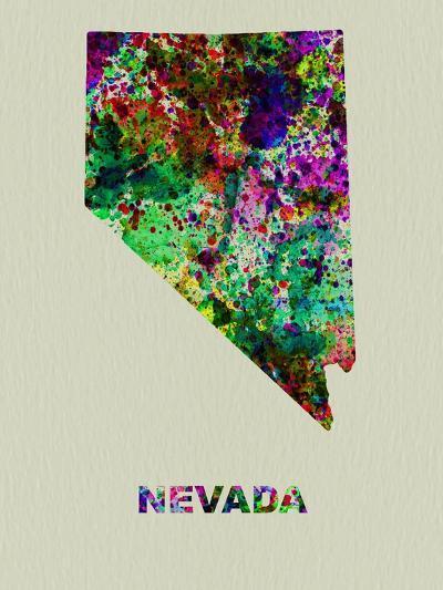 Nevada Color Splatter Map-NaxArt-Art Print