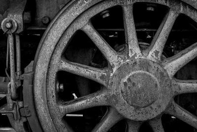 Nevada, Ely. Black and White of Train Wheel-Jaynes Gallery-Photographic Print