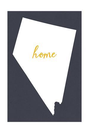 Nevada - Home State - White on Gray-Lantern Press-Art Print