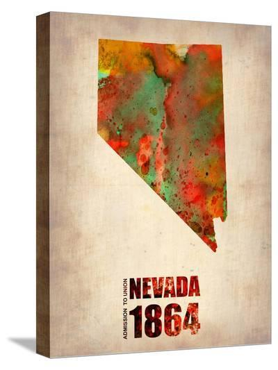 Nevada Watercolor Map-NaxArt-Stretched Canvas Print