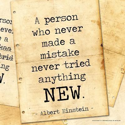 Never Made a Mistake - Albert Einstein Classic Quote-Jeanne Stevenson-Art Print