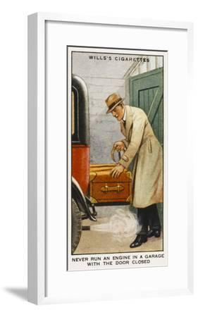 Never Run an Engine in a Garage with the Door Closed--Framed Giclee Print