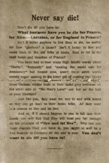 'Never say die', German propaganda leaflet, World War I, 1918-Unknown-Photographic Print