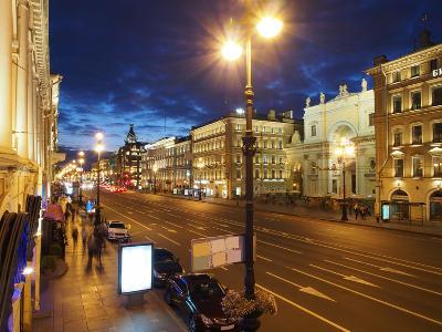 Nevsky Prospekt at Night, St. Petersurg, Russia, Europe-Vincenzo Lombardo-Photographic Print