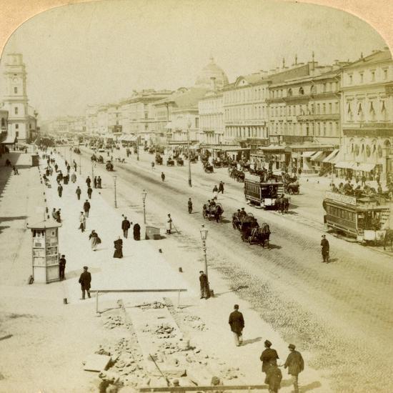 Nevsky Prospekt, the Principal Street of St Petersburg, Russia, 1897-Underwood & Underwood-Giclee Print