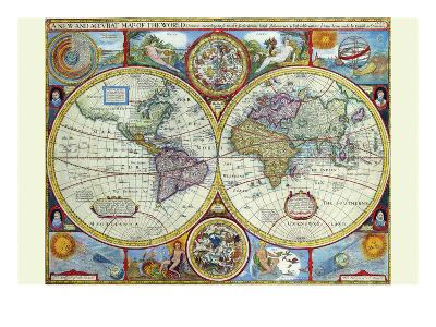 New and Accurate Map of the World; a Stereographic Projection-John Speed-Art Print