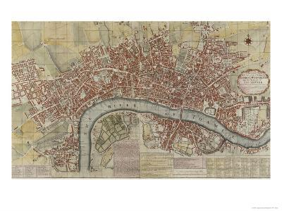 New and Exact Plan of the Cities of London and Westminster and the Borough of Southwark, 1725--Giclee Print