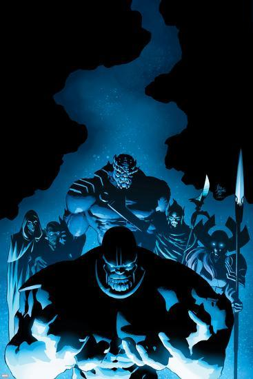 New Avengers #9 Cover: Thanos, Proxima Midnight, Corvus Glaive, Black Dwarf, Supergiant, Ebony Maw-Mike Deodato-Art Print