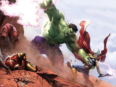 New Avengers Annual No.1: Hulk and Thor Fighting-Gabriele DellOtto-Art Print