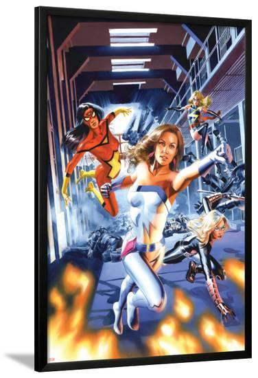 New Avengers Annual No.3 Cover: Jewel, Mockingbird, Spider Woman and Ms. Marvel-Mike Mayhew-Lamina Framed Poster