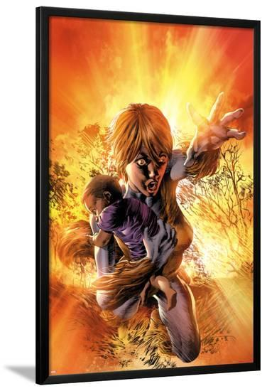 New Avengers No.15 Cover: Squirrel Girl Saving a Child and Flying-Mike Deodato-Lamina Framed Poster