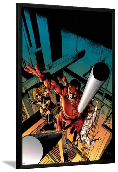New Avengers No.16 Cover: Daredevil, Iron Fist, Ms. Marvel, Spider-Man-Mike Deodato-Lamina Framed Poster