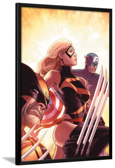 New Avengers No.17 Cover: Ms. Marvel, Captain America and Wolverine-Mike Deodato-Lamina Framed Poster