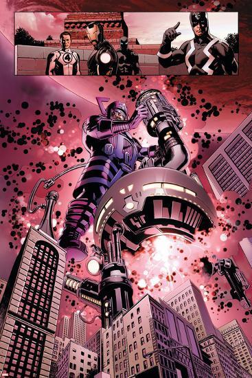 New Avengers No. 4: Galactus, Mr. Fantastic, Iron Man, Black Panther, Black Bolt--Art Print