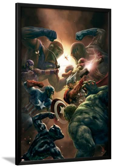 New Avengers No.43 Cover: Captain America, Thor and Black Panther--Lamina Framed Poster
