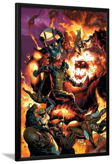 New Avengers No.54 Cover: Wolverine, Spider-Man, Dormammu and Captain America-Billy Tan-Lamina Framed Poster