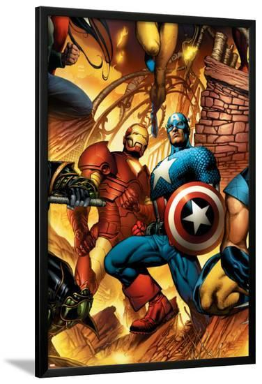 New Avengers No.6 Cover: Iron Man and Captain America-Bryan Hitch-Lamina Framed Poster