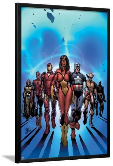 New Avengers No.7 Cover: Spider Woman-David Finch-Lamina Framed Poster