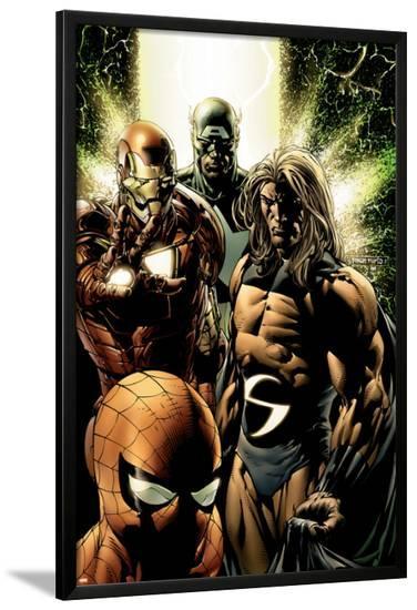 New Avengers No.8 Cover: Captain America, Sentry, Iron Man, Spider-Man and New Avengers-Steve MCNiven-Lamina Framed Poster
