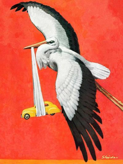 """New Born Automobile,""November 12, 1938-John E^ Sheridan-Giclee Print"