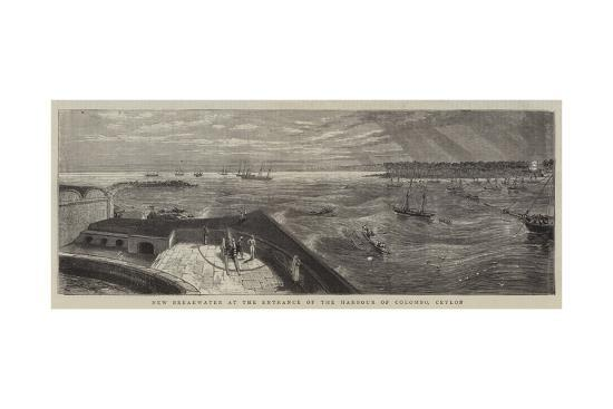 New Breakwater at the Entrance of the Harbour of Colombo, Ceylon--Giclee Print
