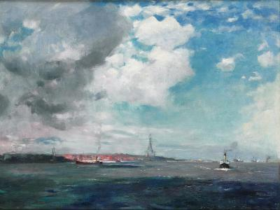 New Brighton from the Mersey, 1907 (Oil on Panel)-James Hamilton Hay-Giclee Print