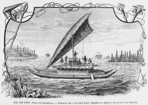 New Caledonia, Pirogue of the Isle of Pines, after a Pen and Ink Drawing of a Deportee,…