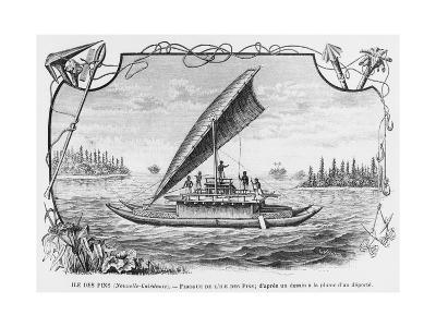 New Caledonia, Pirogue of the Isle of Pines, after a Pen and Ink Drawing of a Deportee,…--Giclee Print