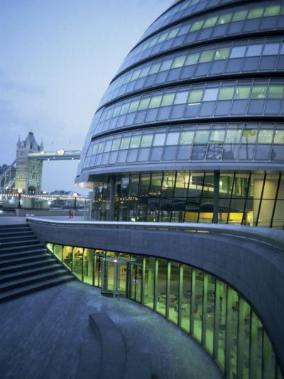New City Hall and Tower Bridge at Dusk, London, England, United Kingdom, Europe-Charles Bowman-Photographic Print
