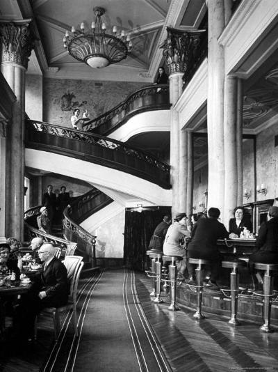 New Cocktail Hall on Gorky Street Where the Rich and Elite Can Experience a Pricey Cowboy Cocktail-Margaret Bourke-White-Photographic Print