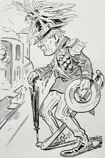 New Cousin, Satirical Cartoon from L'Uomo Di Pietra Magazine, July 4, 1903, Italy--Giclee Print