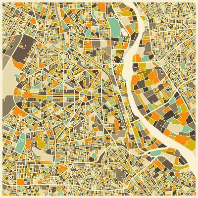 New Delhi Map-Jazzberry Blue-Art Print