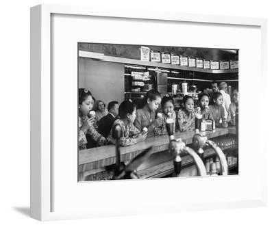 New Delight For the Balinese Dancing Girls in America is Ice Cream-Gordon Parks-Framed Premium Photographic Print