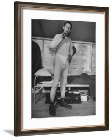 New Draftee Standing in His Long Underwear in Barracks at US Army Post--Framed Photographic Print