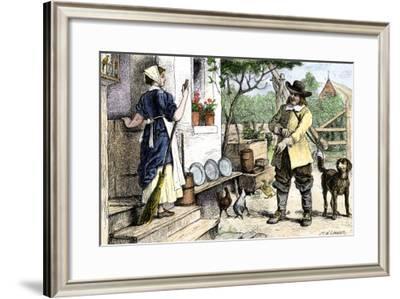 New England Colonial Couple in Farmhouse Dooryard, Late 1600s--Framed Giclee Print