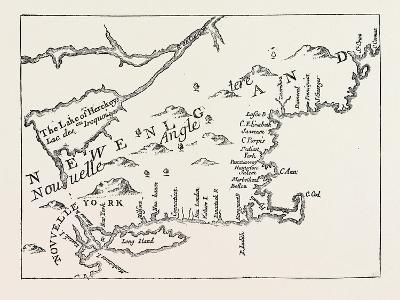 New England in 1684, United States of America, from a Map Engraved by Michault, USA, 1870S--Giclee Print