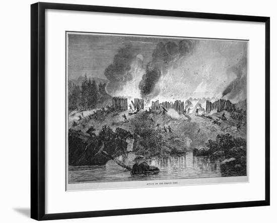 New England White Settlers Attack the Pequot Indian Fort During the Pequot War of 1637-English School-Framed Giclee Print