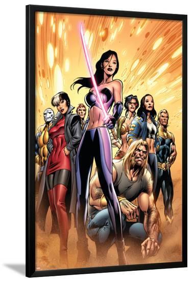 New Exiles No.8 Cover: Psylocke and Sabretooth-Alan Davis-Lamina Framed Poster