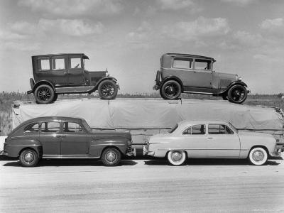 New Ford Cars Arranged to Make Advertising Pictures-William Sumits-Photographic Print