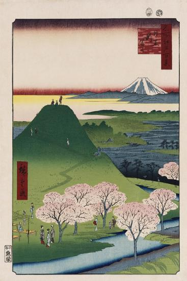 New Fuji, Meguro', from the Series 'One Hundred Views of Famous Places in Edo'-Utagawa Hiroshige-Giclee Print