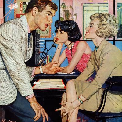 """New Girl  - Saturday Evening Post """"Men at the Top"""", August 8, 1959 pg.21-Bernard D'Andrea-Giclee Print"""