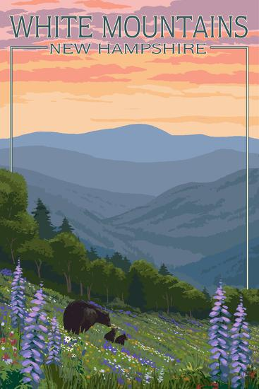 New Hampshire - Bears and Spring Flowers-Lantern Press-Art Print