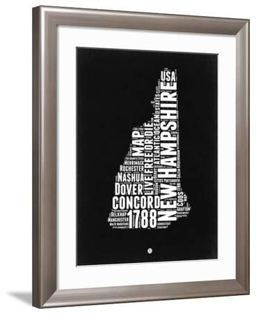 New Hampshire Black and White Map-NaxArt-Framed Art Print