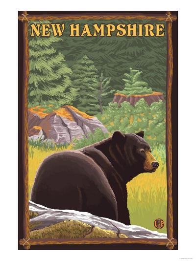 New Hampshire - Black Bear in Forest-Lantern Press-Art Print